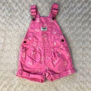 OshKosh B'Gosh Bicycle Shortalls Pink Overalls